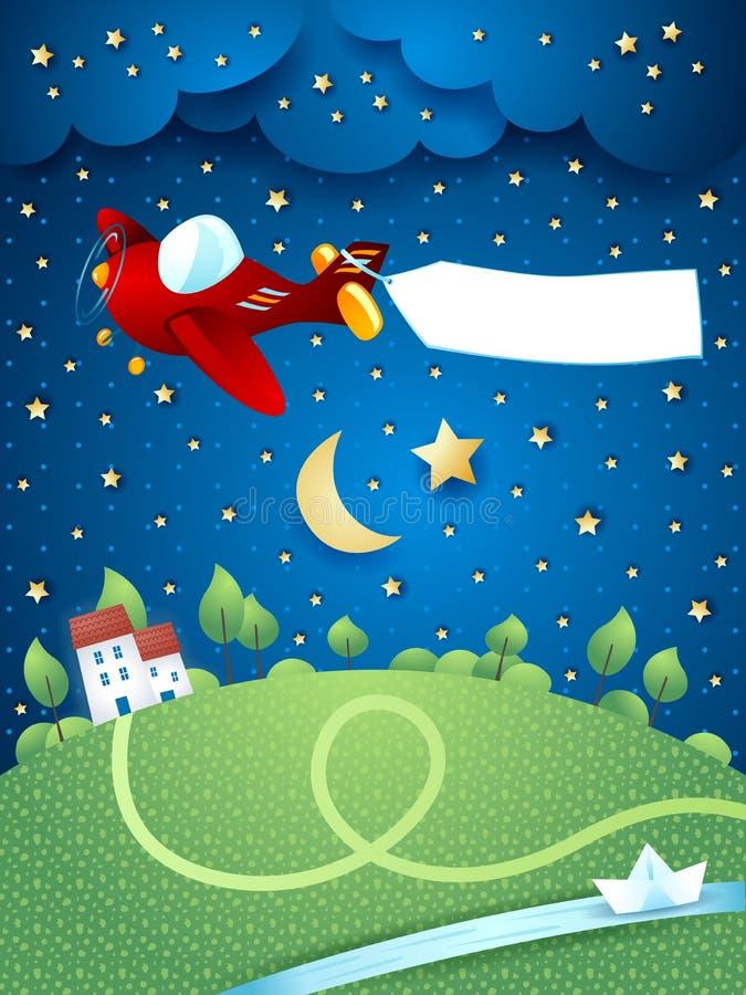 Paisaje de la noche con el aeroplano, la bandera y el río libre illustration