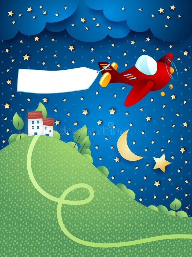 Paisaje de la noche con el aeroplano, la bandera y la colina stock de ilustración