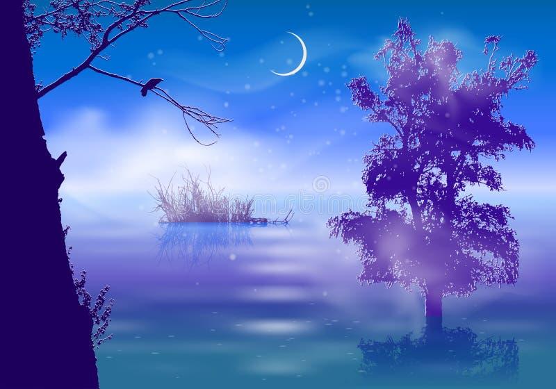 Paisaje de la noche con niebla y árboles libre illustration