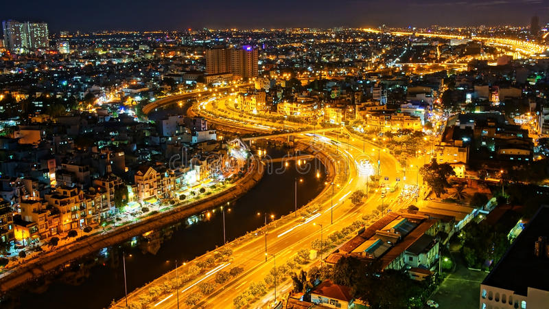 Paisaje de la noche de la impresión de la ciudad de Asia imágenes de archivo libres de regalías