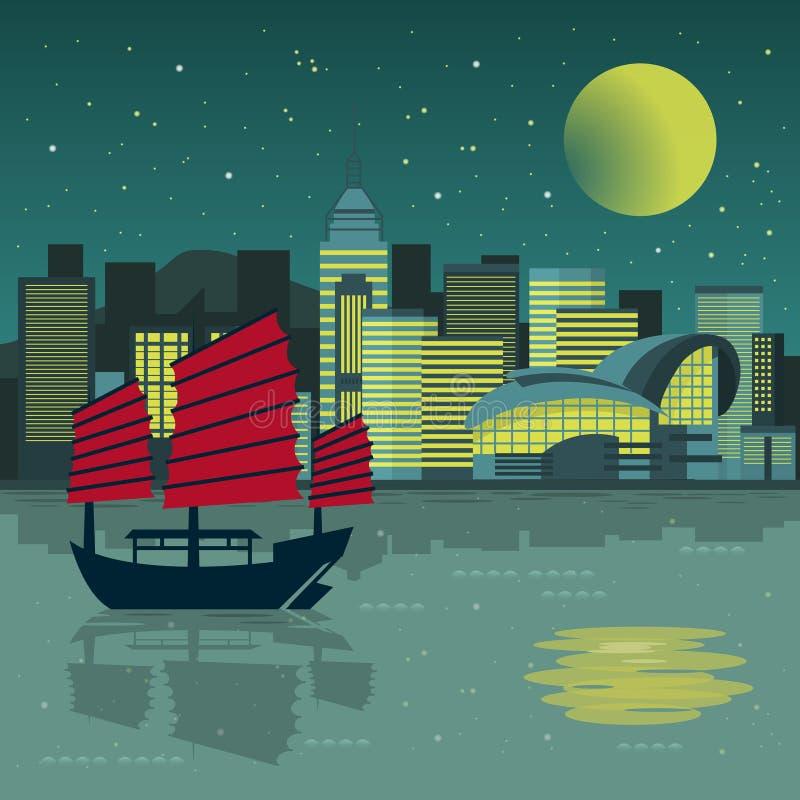 Paisaje de la noche de Victoria Harbor ilustración del vector