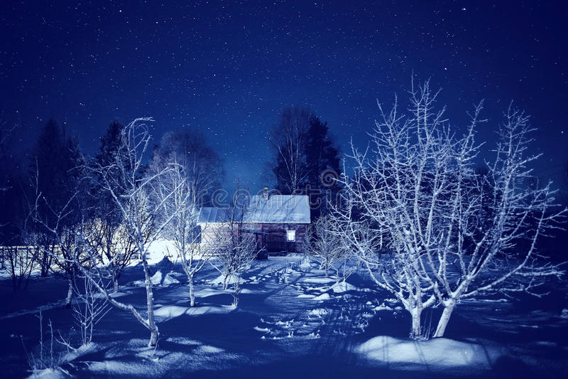 Paisaje de la noche del invierno imagen de archivo