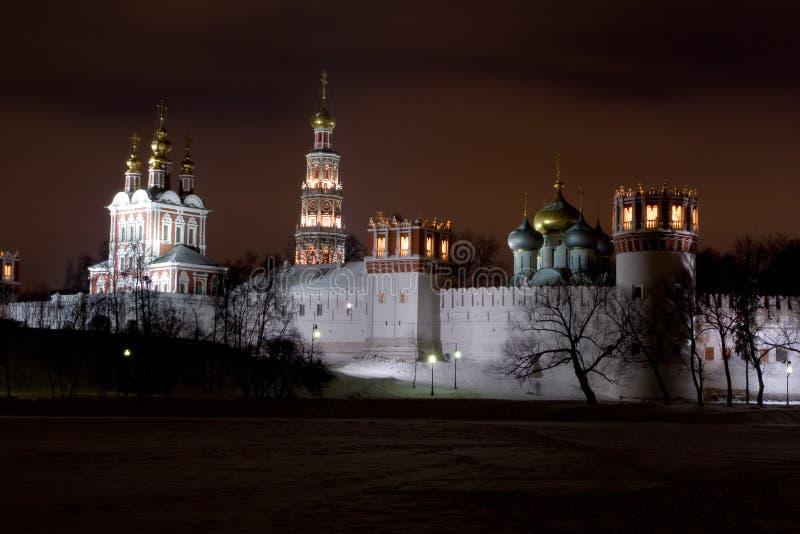 Paisaje de la noche del monasterio de Novodevichiy fotografía de archivo libre de regalías