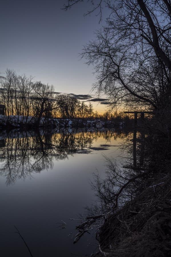 Paisaje de la noche del río del Mohawk foto de archivo