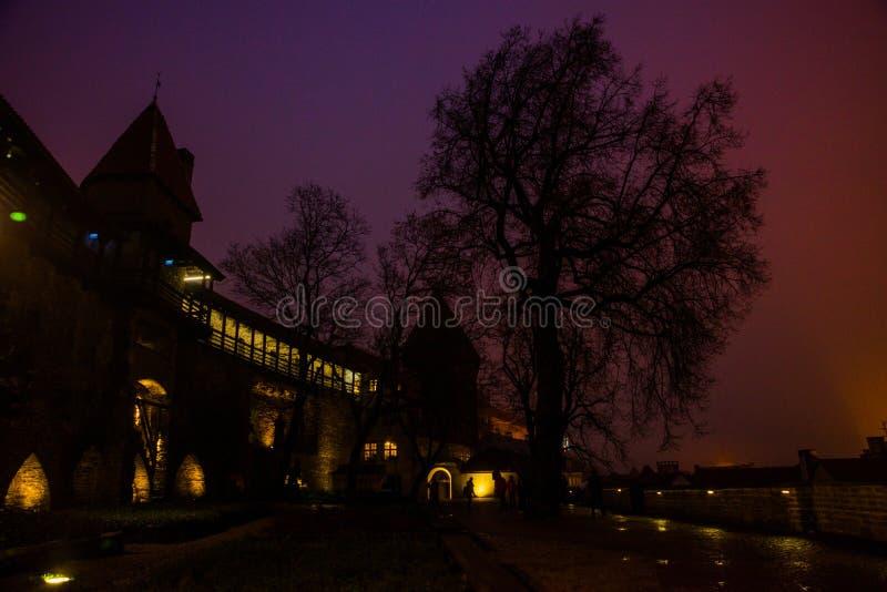 Paisaje de la noche de las paredes de la fortaleza con la iluminación La torre anterior Neitsitorn de la prisión en Tallinn vieja fotografía de archivo libre de regalías
