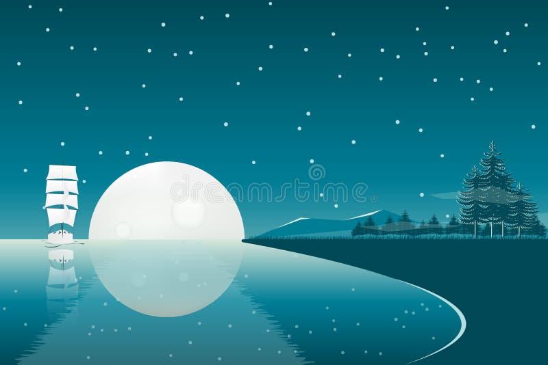 Paisaje de la noche de la Luna Llena con la nave de la vela ilustración del vector