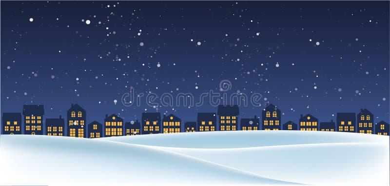 Paisaje de la noche de la Navidad con las casas stock de ilustración