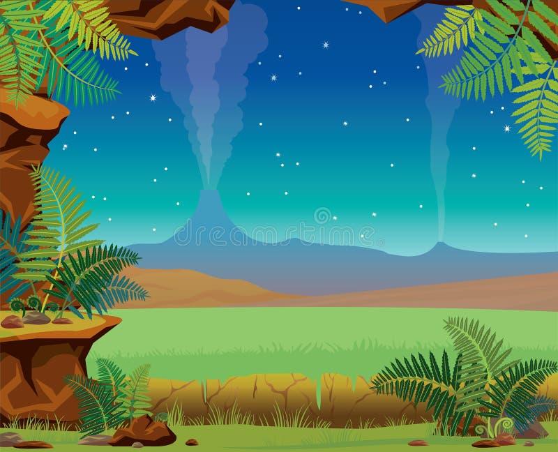 Paisaje de la noche de verano - cueva, volcán, helecho naturaleza prehistórica ilustración del vector