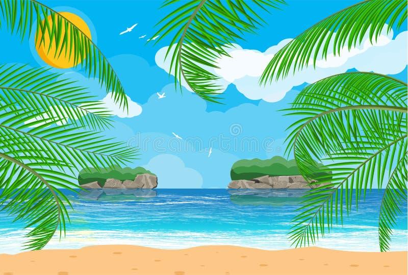 Paisaje de la palmera en la playa stock de ilustración
