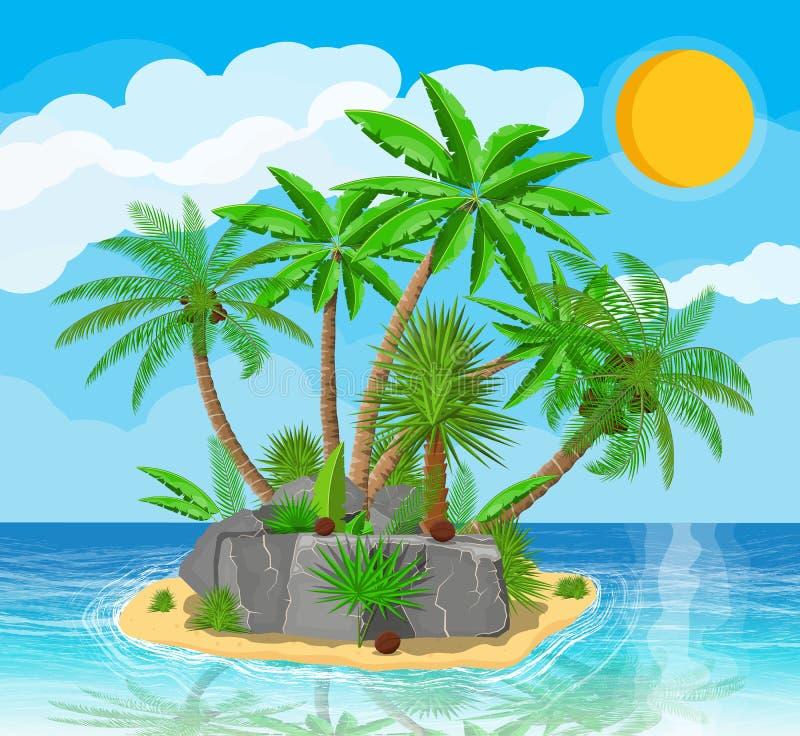 Paisaje de la palmera en la playa libre illustration
