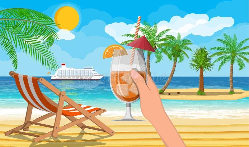 Paisaje de la palmera en la playa ilustración del vector
