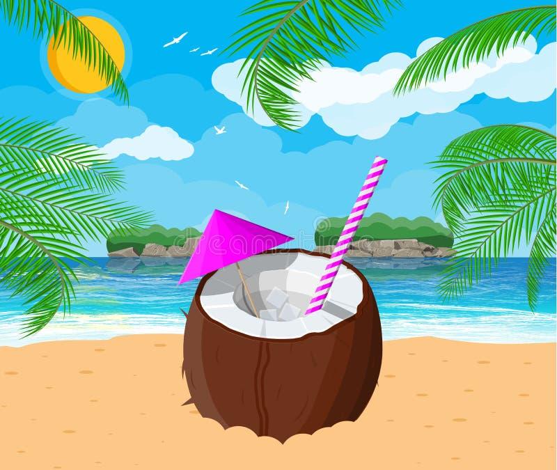 Paisaje de la palmera en la playa, cóctel ilustración del vector