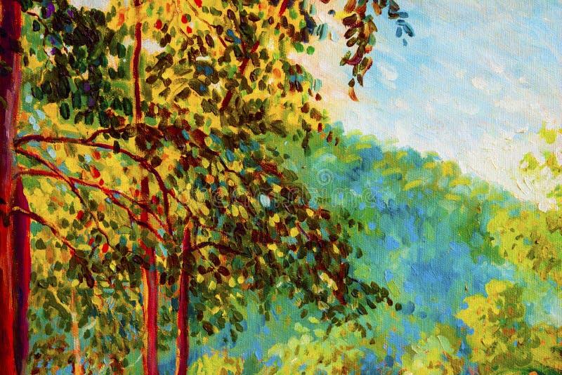 Paisaje de la pintura al óleo en la lona - árboles coloridos del otoño ilustración del vector