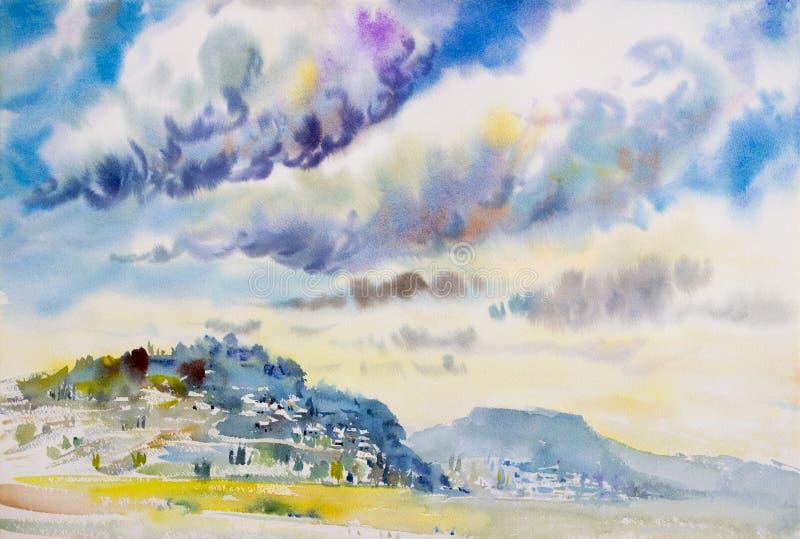 Paisaje de la pintura colorido de las nubes de lluvia en la montaña fotografía de archivo libre de regalías