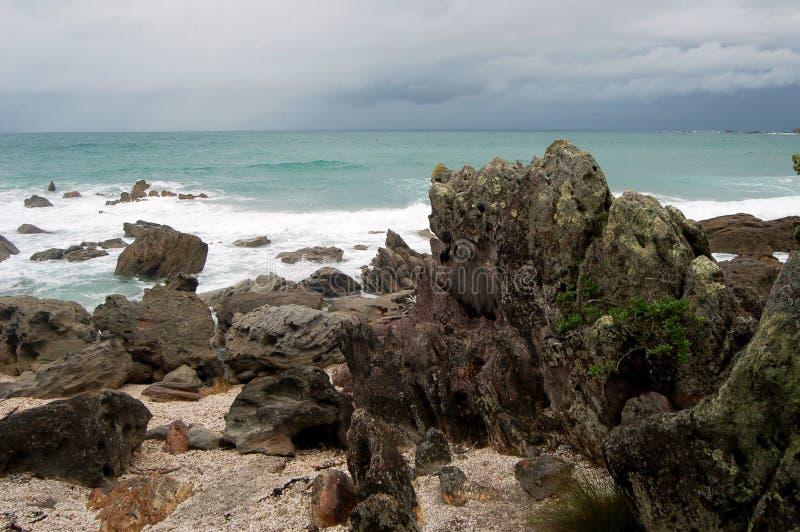 Paisaje de la playa, ciudad de Tauranga, isla del norte, Nueva Zelanda fotografía de archivo