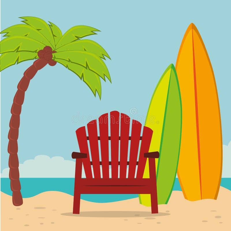 Paisaje de la playa con la silla y la tabla hawaiana libre illustration