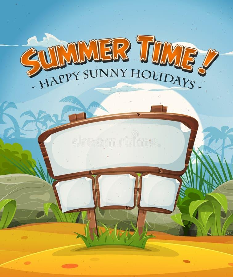 Paisaje de la playa de las vacaciones de verano con la muestra de madera stock de ilustración