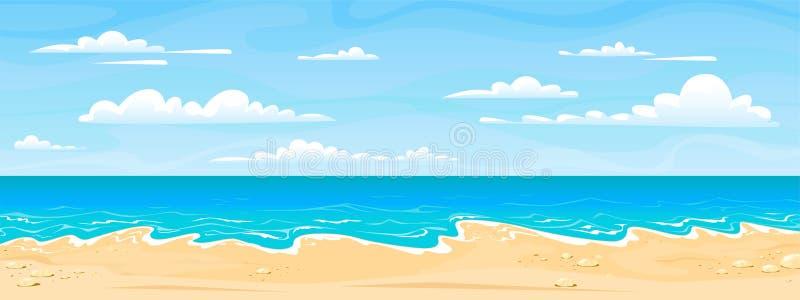 Paisaje de la playa del mar Día soleado del verano de la historieta, panorama horizontal de la vista al mar, arena del agua y nub stock de ilustración