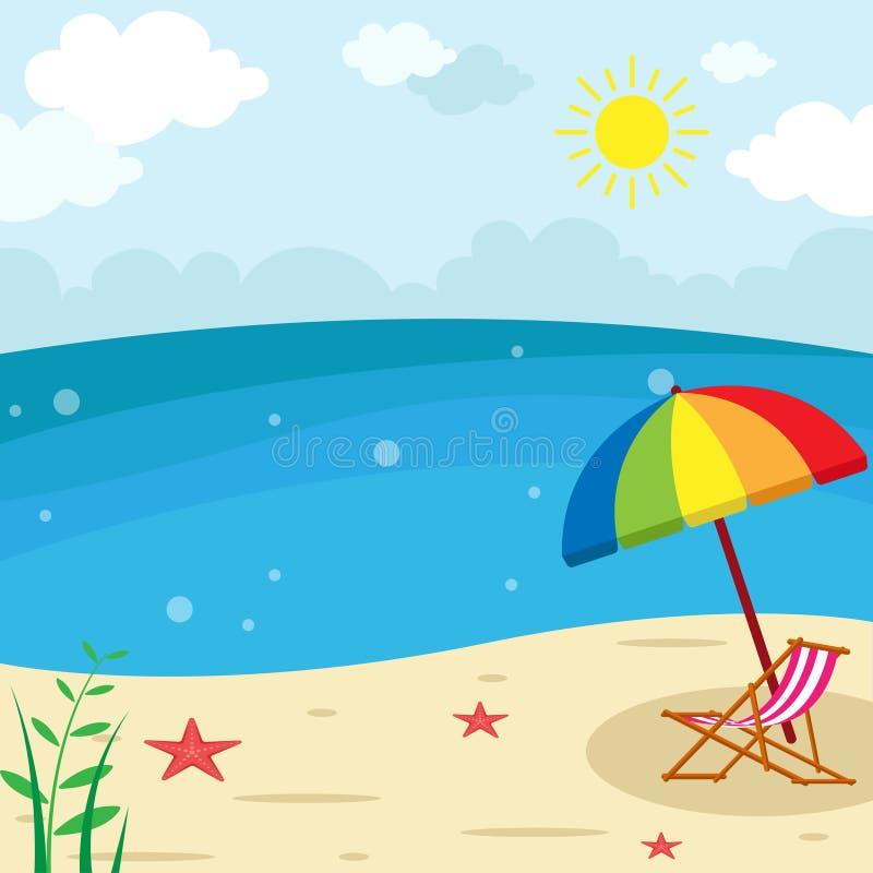Paisaje de la playa de la puesta del sol - sillón con el ejemplo del paraguas, fondo del verano de las vacaciones libre illustration