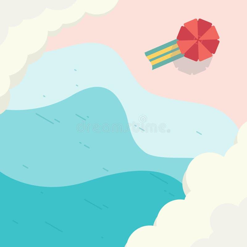 Paisaje de la playa de la visión superior para el diseño del elemento ilustración del vector