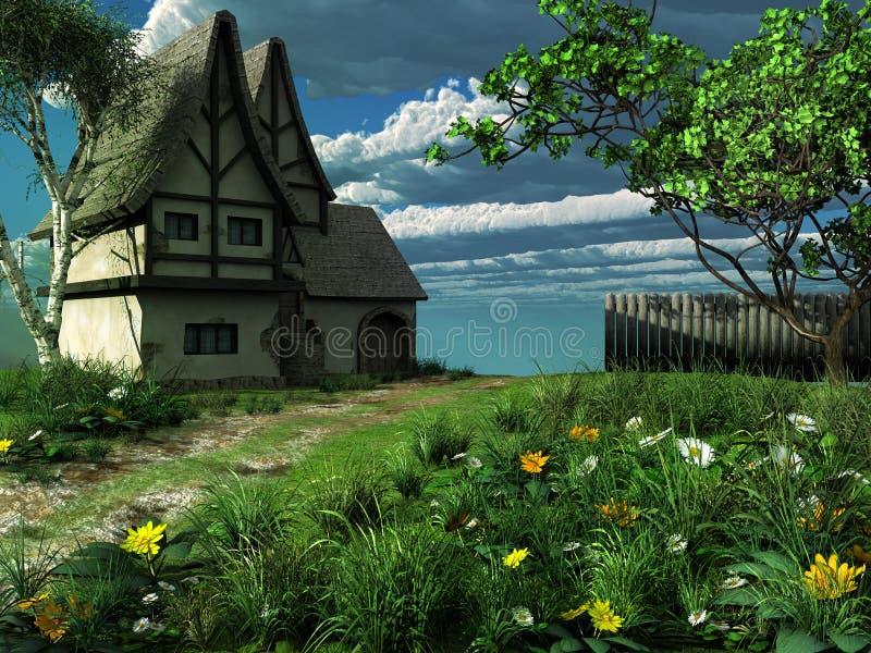 Paisaje de la primavera con la cabaña vieja libre illustration
