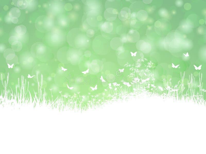 Paisaje de la primavera con las mariposas ilustración del vector