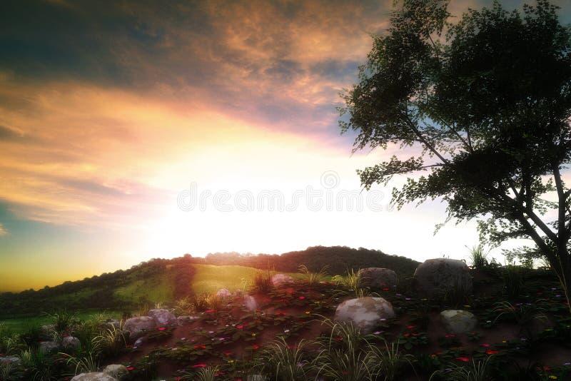 Paisaje de la puesta del sol libre illustration
