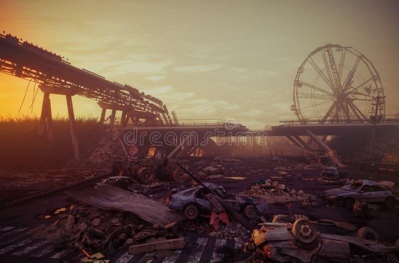 Paisaje de la puesta del sol de la apocalipsis stock de ilustración