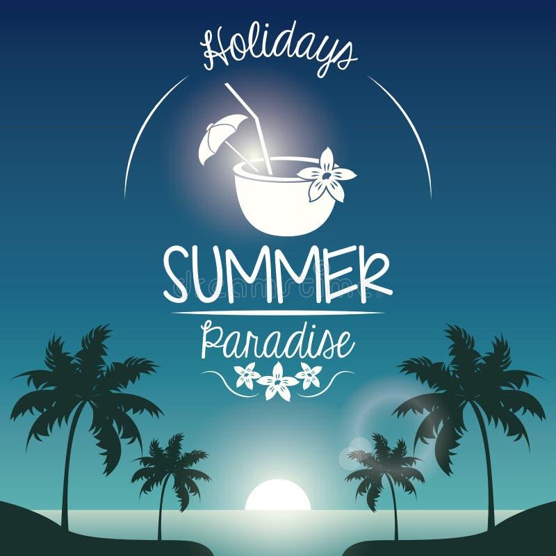 Paisaje de la puesta del sol del cartel de palmeras en la playa con paraíso del verano de los días de fiesta del logotipo y el co libre illustration