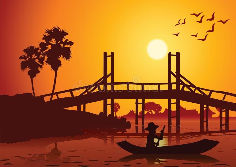 Paisaje de la puesta del sol con un barco de rowing de nuevo al bri de madera cercano casero stock de ilustración