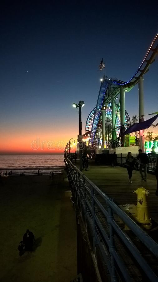 Paisaje de la puesta del sol en Santa Monica fotos de archivo libres de regalías