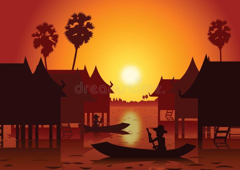 Paisaje de la puesta del sol y pueblo rural del agua con un arou del barco de rowing stock de ilustración