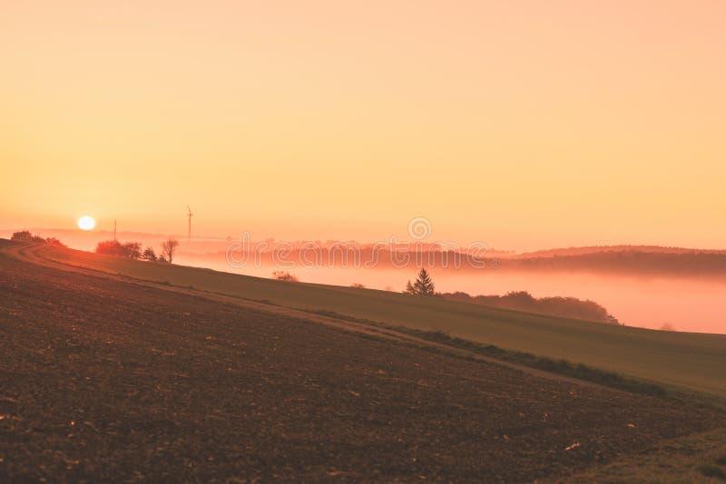Paisaje de la salida del sol del camino y del campo del otoño foto de archivo libre de regalías