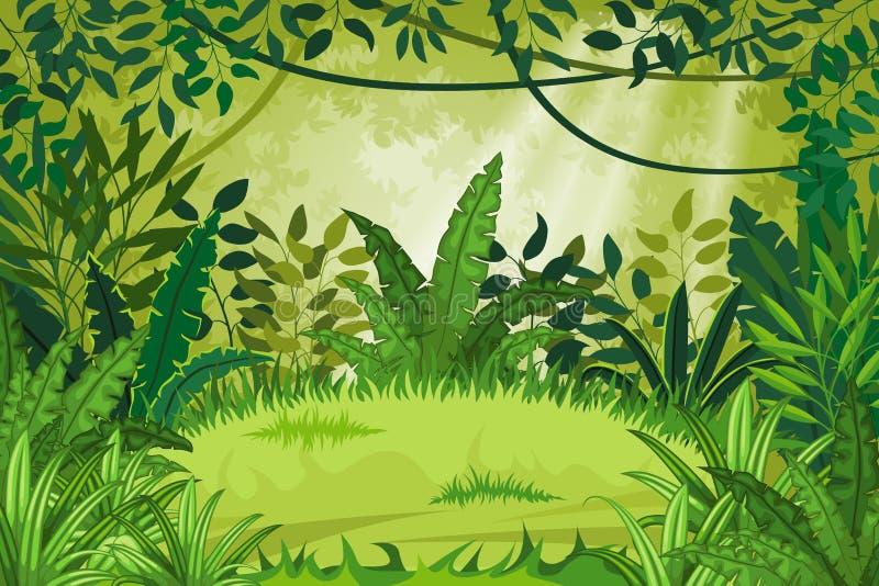 Paisaje de la selva del ejemplo stock de ilustración