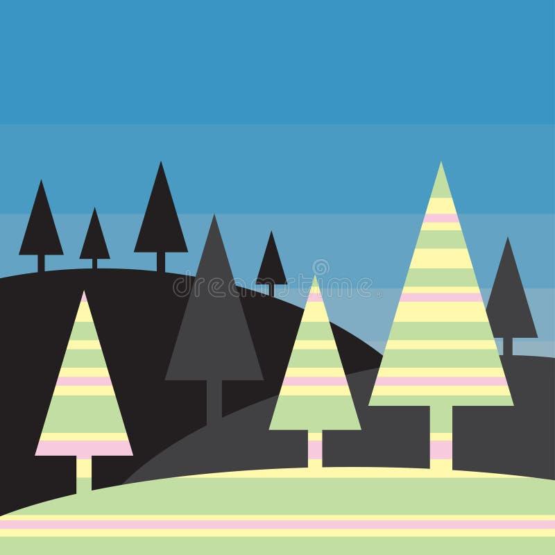 Paisaje de la silueta - árboles coloridos estilizados ilustración del vector