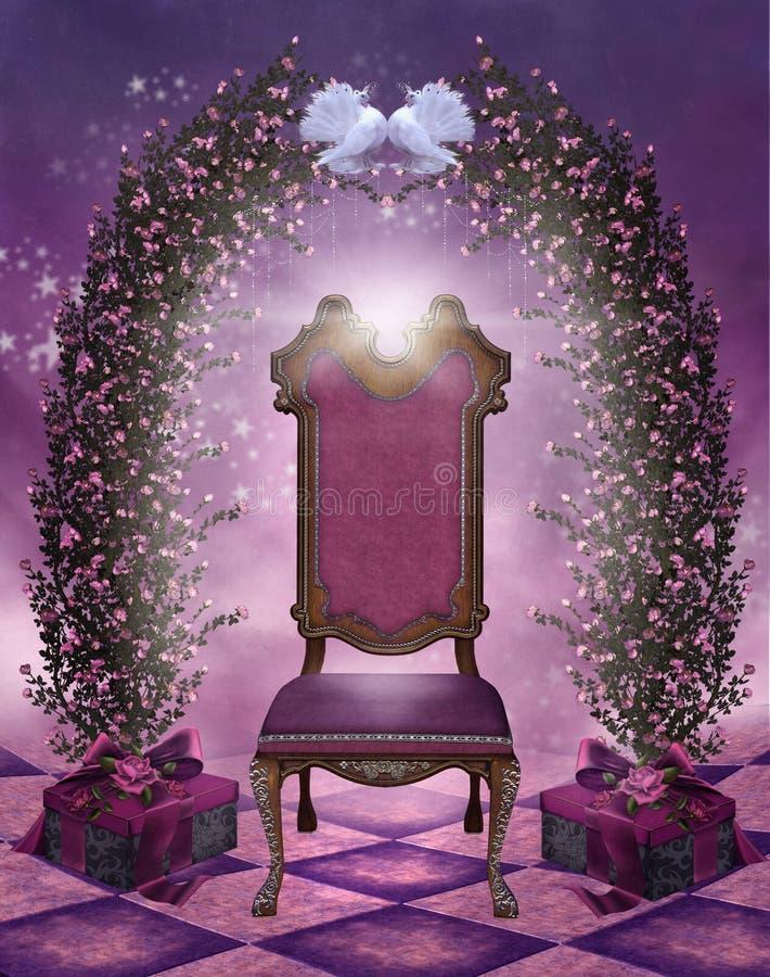 Paisaje de la tarjeta del día de San Valentín con una silla libre illustration