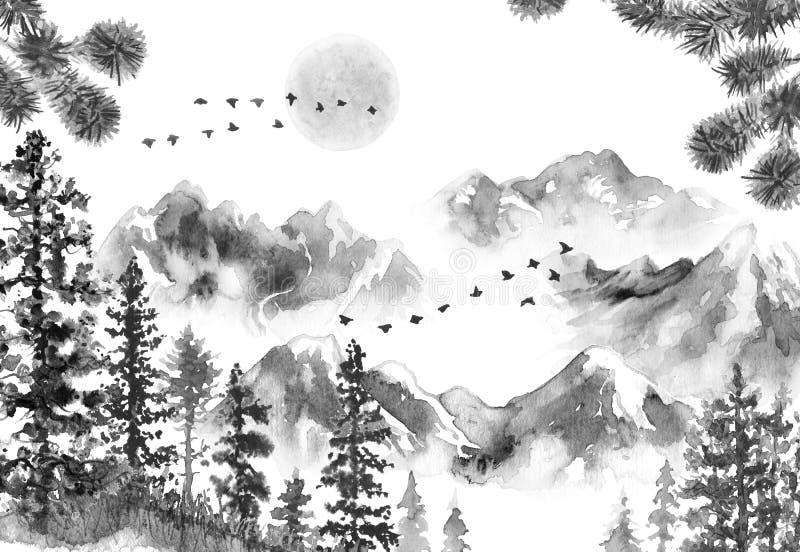 Paisaje de la tinta con las montañas y los abetos ilustración del vector