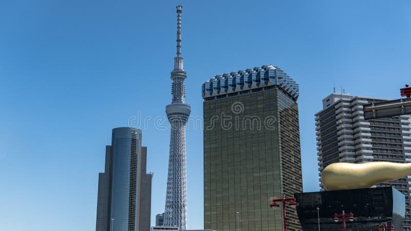 Paisaje de la torre de Tokio Skytree que se coloca hacia fuera entre edificios modernos en Asakusa, Tokio Japón imagen de archivo