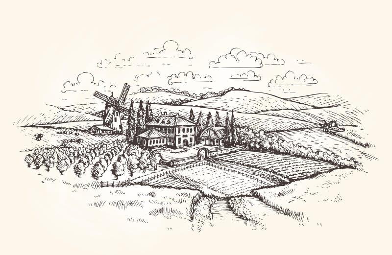 Paisaje de la vendimia Granja, agricultura o bosquejo del campo de trigo Ilustración del vector libre illustration