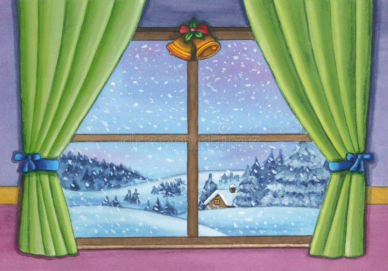 Paisaje de la ventana de la Navidad libre illustration