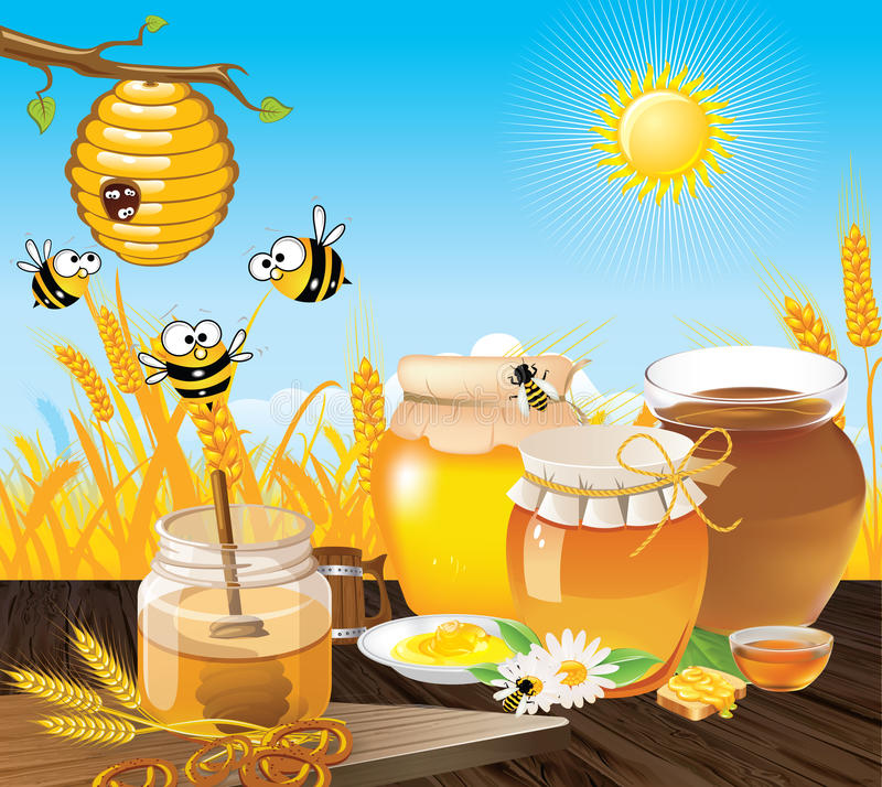 Paisaje de las abejas de la miel libre illustration