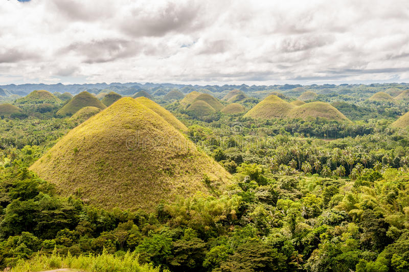 Paisaje de las colinas del chocolate en Filipinas fotografía de archivo