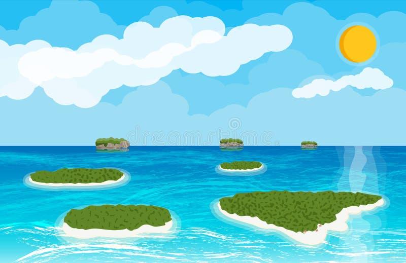 Paisaje de las islas y de la playa stock de ilustración