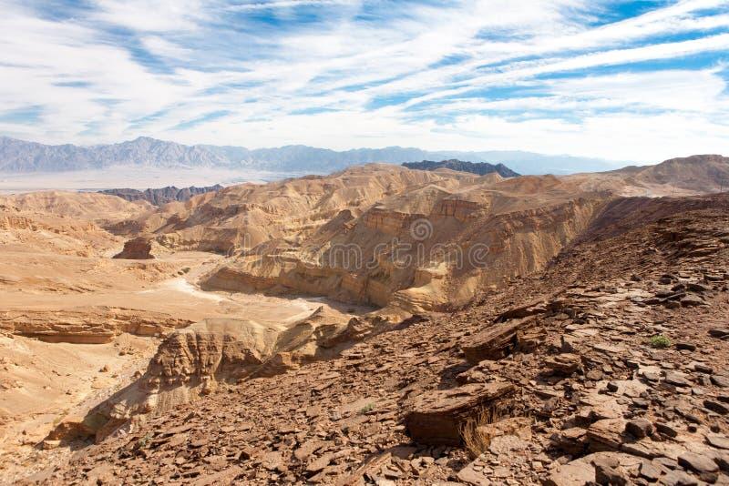 Paisaje de las montañas de Eilat en el desierto del Néguev fotografía de archivo libre de regalías