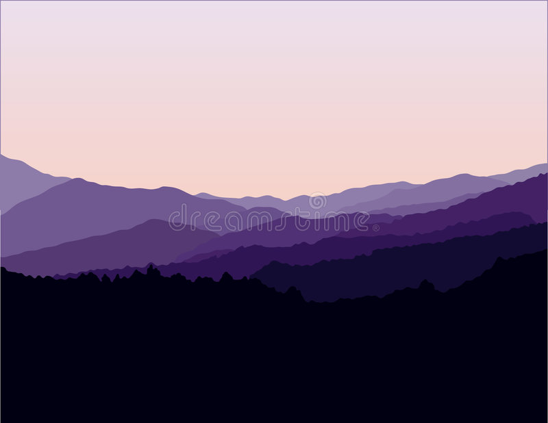 Paisaje de las montañas de Ridge azul ilustración del vector