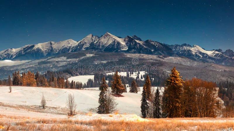 Paisaje de las montañas del invierno en la noche foto de archivo libre de regalías