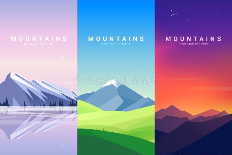 Paisaje de las montañas Ilustración del vector del fondo fotografía de archivo