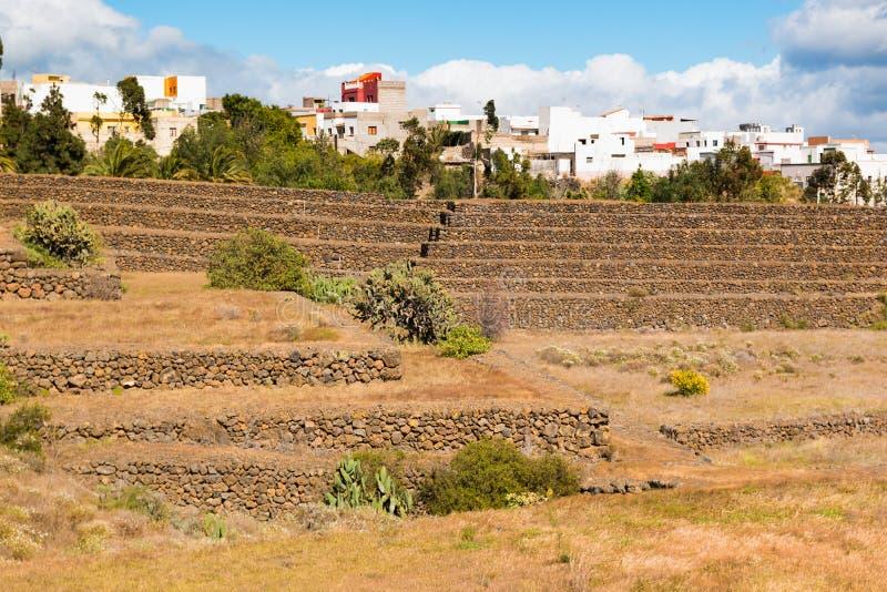Paisaje de las pirámides de Guimar en Tenerife, islas Canarias imagen de archivo