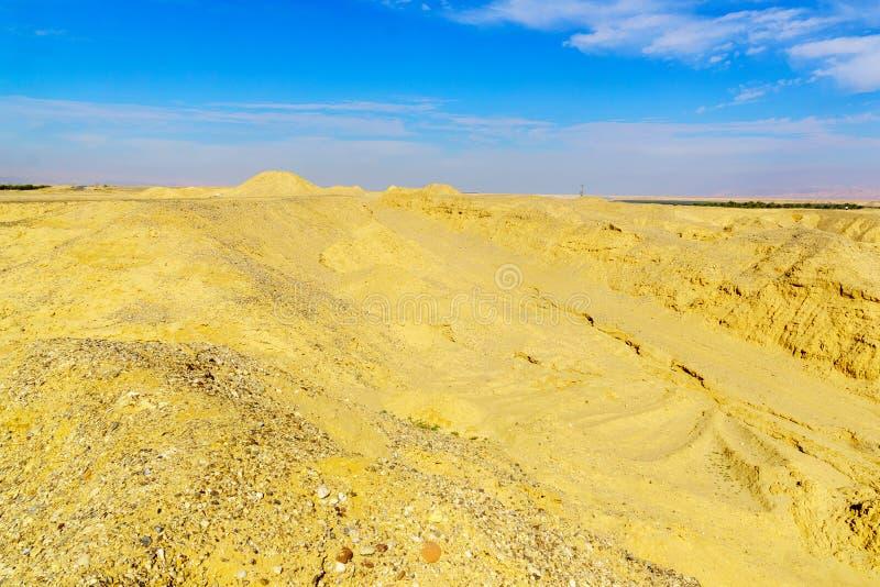 Paisaje de las rocas lissan de la marga a lo largo del camino de la paz de Arava fotografía de archivo libre de regalías