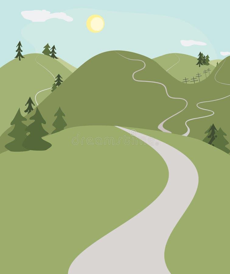 Paisaje de los caminos de la colina stock de ilustración